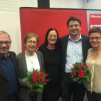 Die wiedergewählte Führungsspitze der Münchner SPD: Roland Fischer, Heide Rieke, Claudia Tausend, Florian von Brunn und Isabell Zacharias (von links)